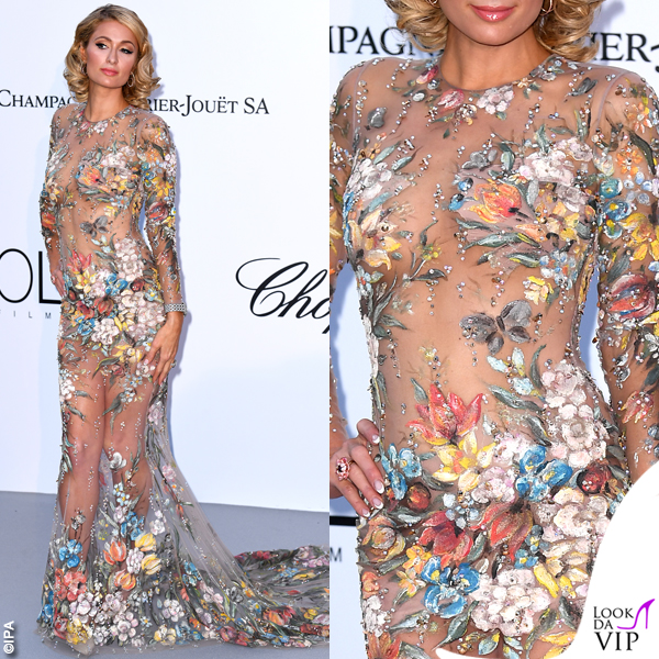 Paris Hilton Cannes 2018 party AmFar abito Philipp Plein