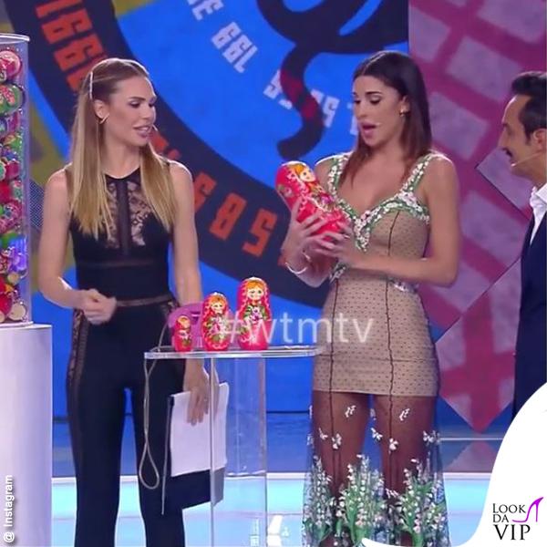 Balalaika Ilary Blasi tuta La Perla Belen Rodriguez abito Blumarine