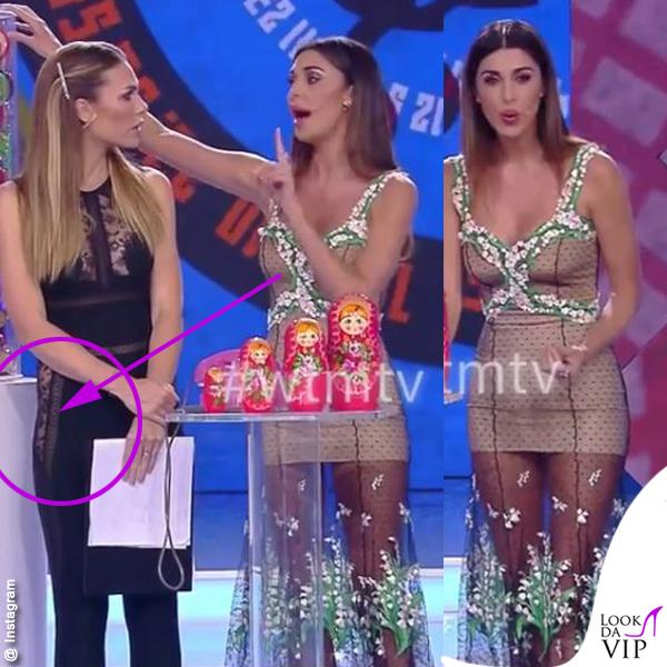Balalaika Ilary Blasi tuta La Perla Belen Rodriguez abito Blumarine FRECCIA
