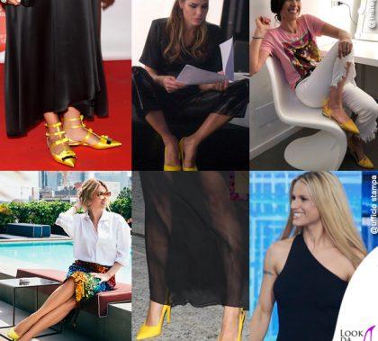 Camila Raznovich scarpe Sergio Rossi Ilary Blasi Caterina Balivo scarpe Madame Cosette Elena Barolo scarpe Dolce e Gabbana Linda Morselli Michelle Hunziker