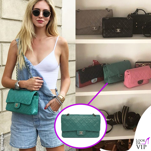 Chiara Ferragni borsa Chanel Timeless blue Tiffany