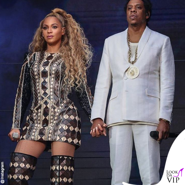 On The Run II World Tour Jay-Z completo Givenchy scarpe Puma Beyoncé total outfit Balmain 2