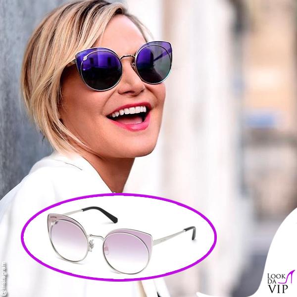 Simona Ventura occhiali da sole Swarovski