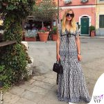 Valentina Ferragni abito Tory Burch borsa Hermes mini Kelly fake