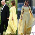 Melania Trump in giallo fa le prove da regina