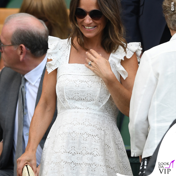 Pippa Middleton abito Anna Manson Bergman Broderie scarpe Penelope Chilvers High Valenciana