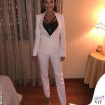 Alessia Macari tailleur bianco