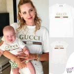 Chiara Ferragni tshirt Gucci Leone Lucia Ferragni tutina Gucci