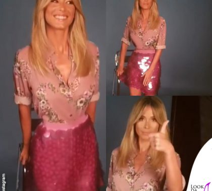 Diletta Leotta camicia fiori gonna paillettes Blugirl