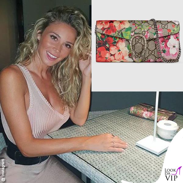 Diletta Leotta portafoglio Gucci Dionysus GG Blooms