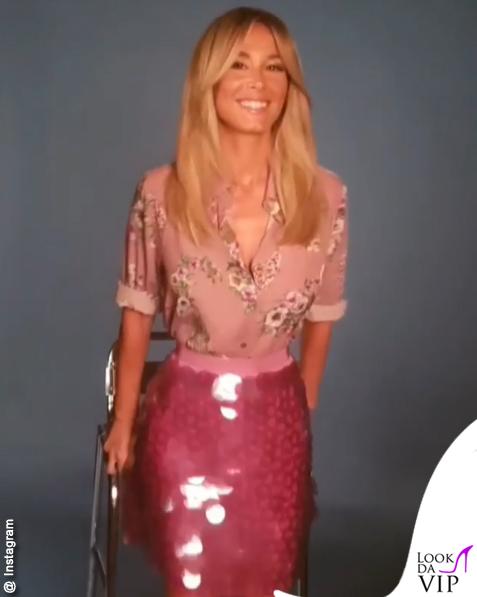 Diletta Leotta camicia fiori gonna paillettes Blugirl