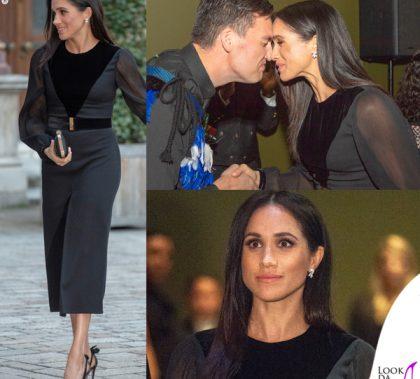Meghan Markle abito e clutch Givenchy scarpe Aquazzura orecchini Birks