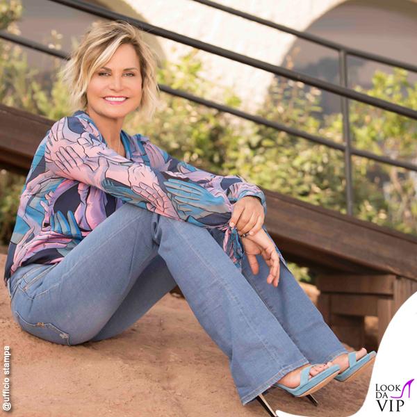 Simona Ventura Temptation camicia Marco De Vincenzo jeans 2w2m sandali Anna Baiguera 2