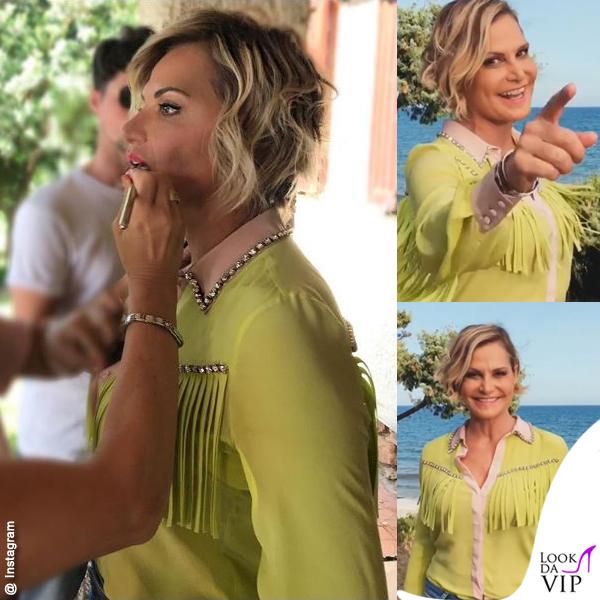 Simona Ventura Temptation camicia gialla frange Marco Bologna gioielli Spallanzani