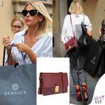 Alessia Marcuzzi borsa Marks and Angels cavigliere The Attico scarpe Gianvito Rossi occhiali Versace