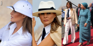 Egitto Melania Trump blazer Ralph Lauren cappello Chanel