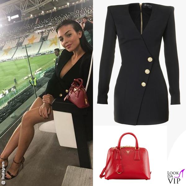 Georgina Rodriguez Juve-Napoli abitoBalmain sandali YSl borsa Prada INSTAGRAM