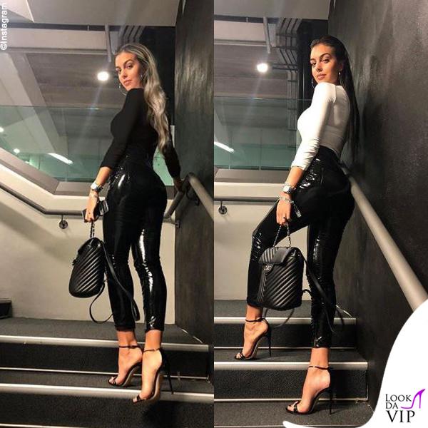 Georgina Rodriguez pantaloni Versace zaino Chanel dolcevita Zara sandali Saint Laurent