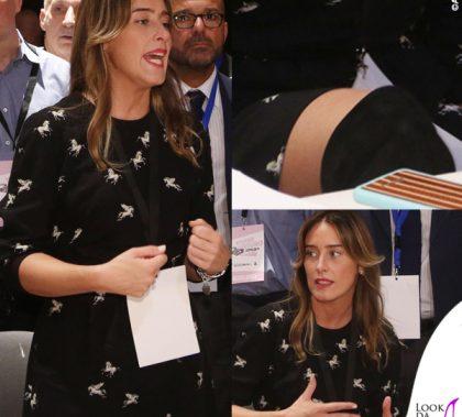 Maria Elena Boschi abito Whyred stivali over-the-knee