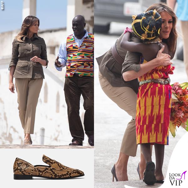 Melania Trump giacca Veronica Beard scarpe Zara