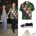 Robbie Williams e Ayda Field camicia Gucci, sneakers Fendi, borsa Chanel 2