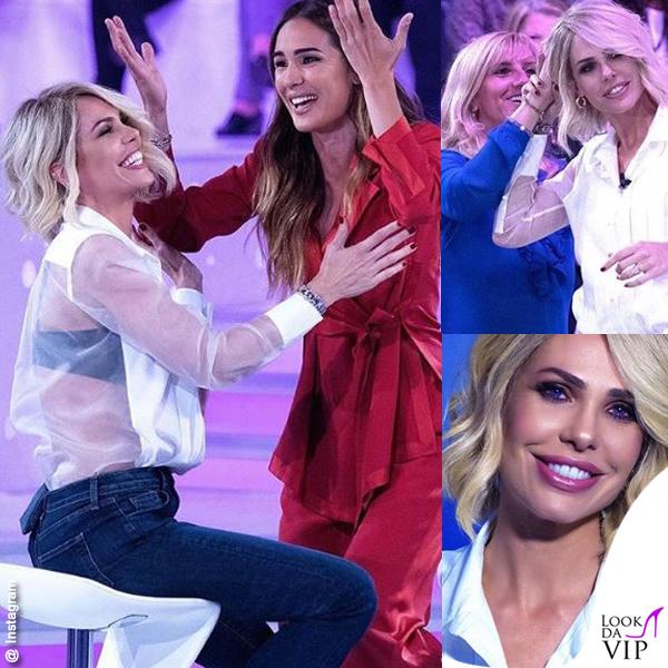 Verissimo Ilary Blasi camicia Equipement jeans JBrand sandali Casadei Silvia Toffanin in Alberta Ferretti 2