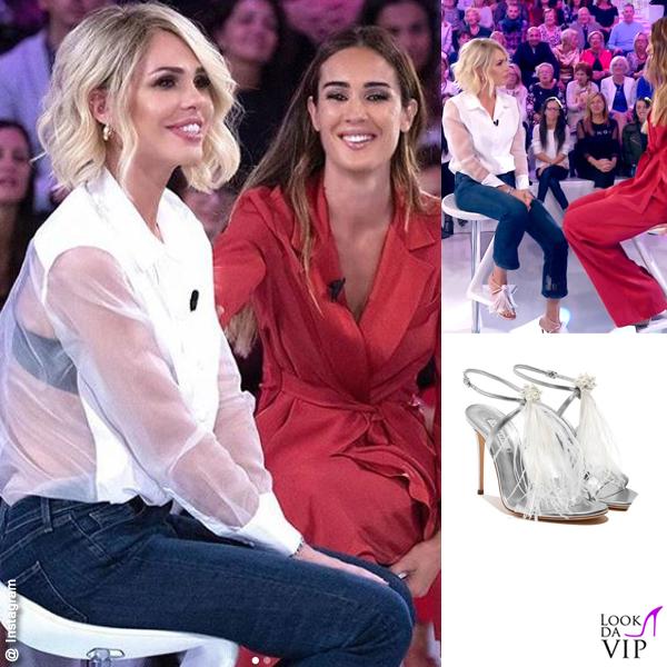 Verissimo Ilary Blasi camicia Equipement jeans JBrand sandali Casadei Silvia Toffanin in Alberta Ferretti INSTAGRAM