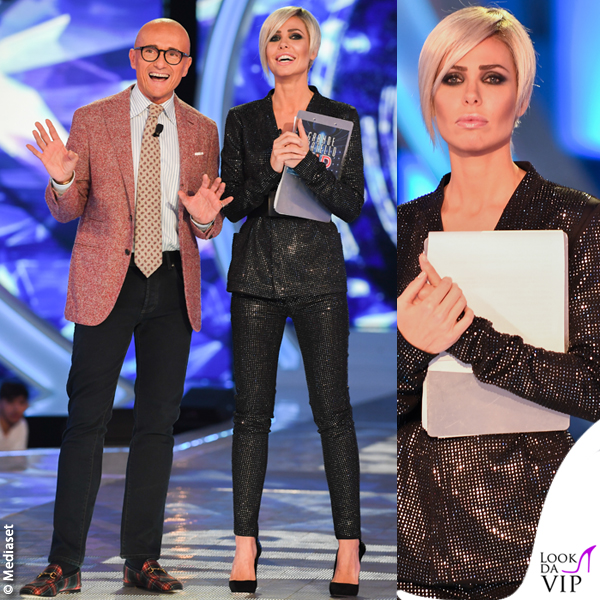 10 puntata GFVip Ilary Blasi completo Plein Sud scarpe Le Silla Alfonso Signorini total look Doriani Cashmere