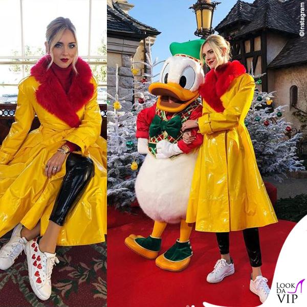 Chiara Ferragni madrina Disney cappotto Sara Battaglia sneakers Chiara Ferragni Collection