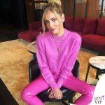 Chiara Ferragni maglione Prada pantaloni Love Labels