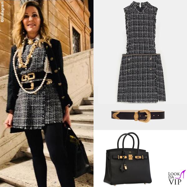 Daniela Santanchè tuta Zara borsa Hermes cintura Versace 2