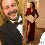Elisa Isoardi abito Elisabetta Franchi scarpe Gianni Marra Matteo Salvini smoking 1