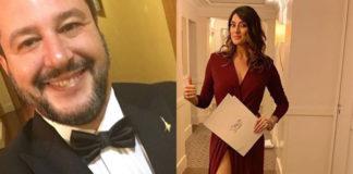 Elisa Isoardi abito Elisabetta Franchi scarpe Gianni Marra Matteo Salvini smoking_