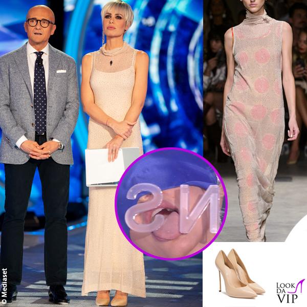 Ilary Blasi 13 puntata GF Vip abito Cividini scarpe Casadei