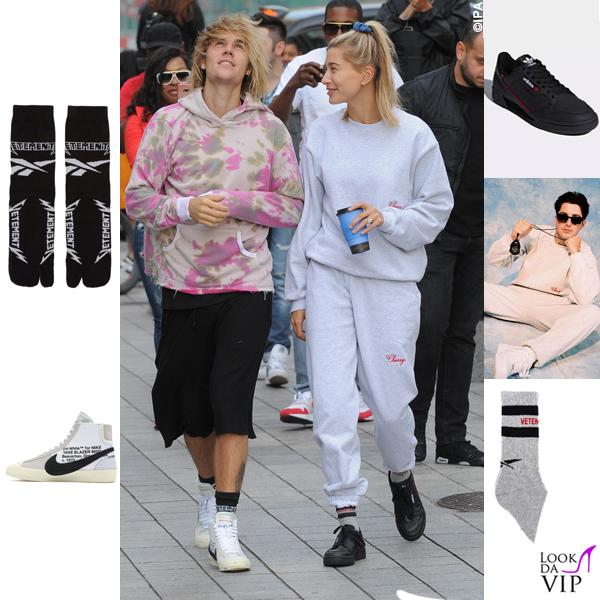 JustinBieber-Hailey-Baldwin-Londra-sneakers-Nike-x-Off-White-Adidas-calze-Vetements-tuta-Cherry-5