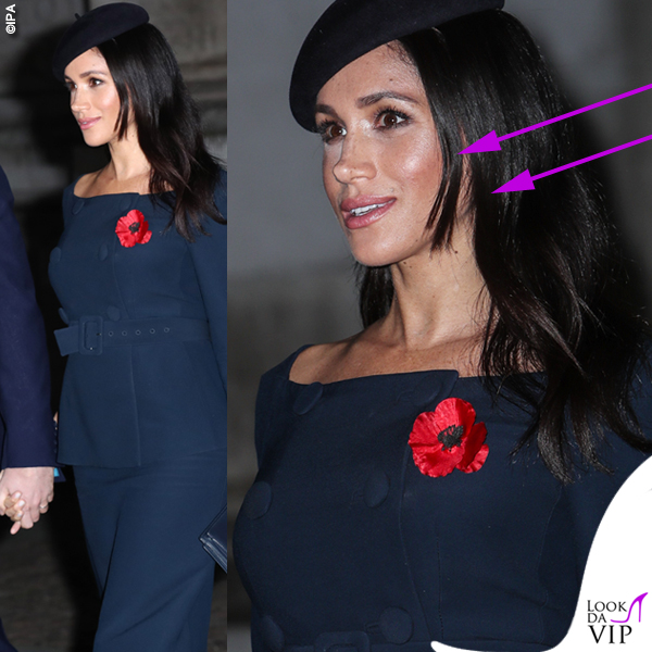 Meghan Markle Remembrance Sunday tailleur scollo a barca capelli