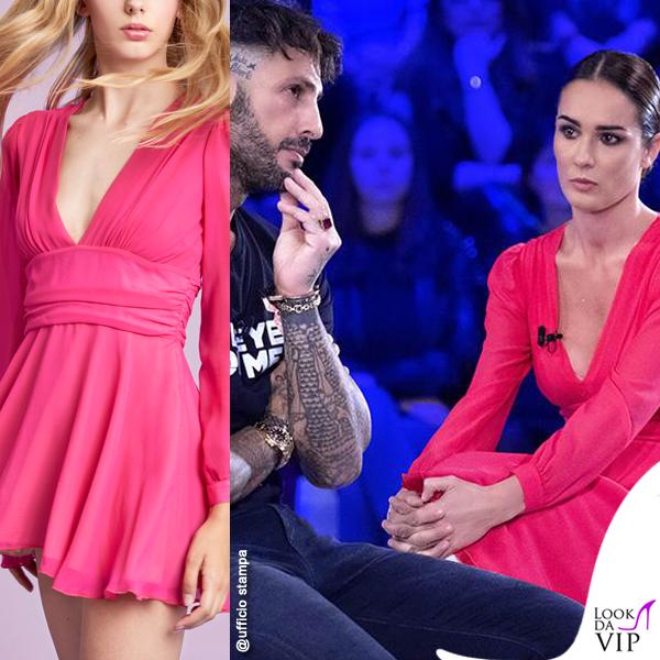 Silvia Toffanin abito Celeste Pisenti stivali Greymer