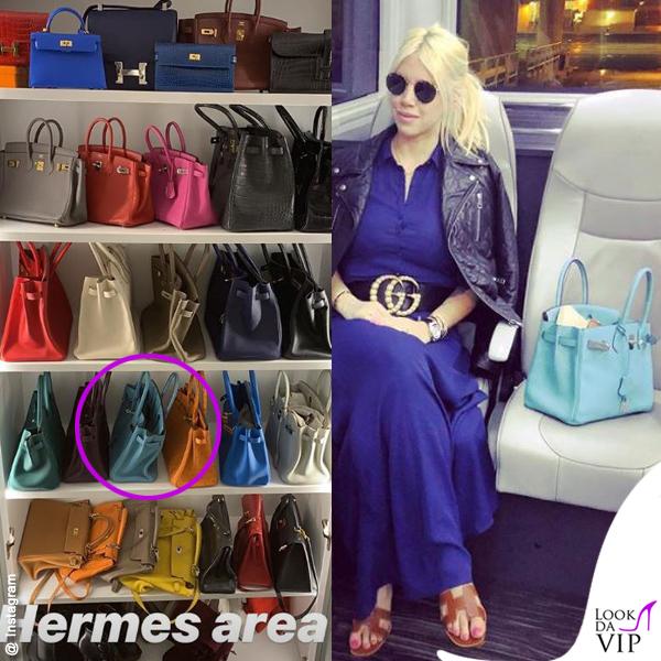 Wanda Nara borsa Hermes Birkin azzurra sandali Hermes cintura Gucci