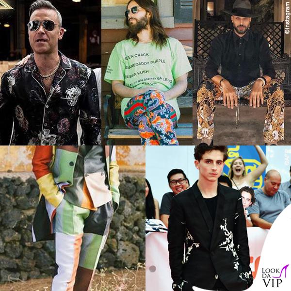 uomini con pantaloni fantasia
