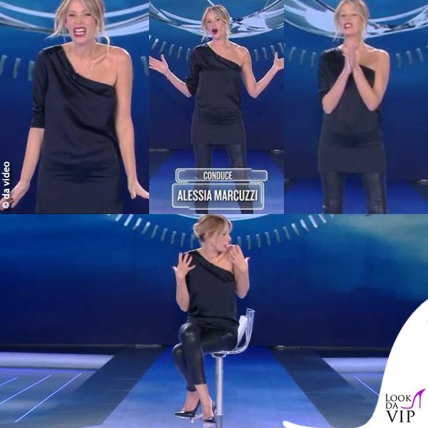 Alessia Marcuzzi sesta puntata Isola dei Famosi minidress Stella McCartney pantaloni J Brand scarpe Casadei