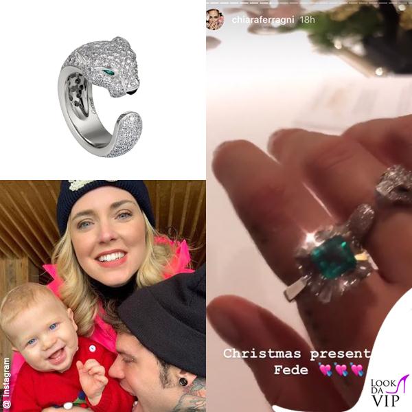 Chiara Ferragni anello Cartier Panthèr anello smeraldo