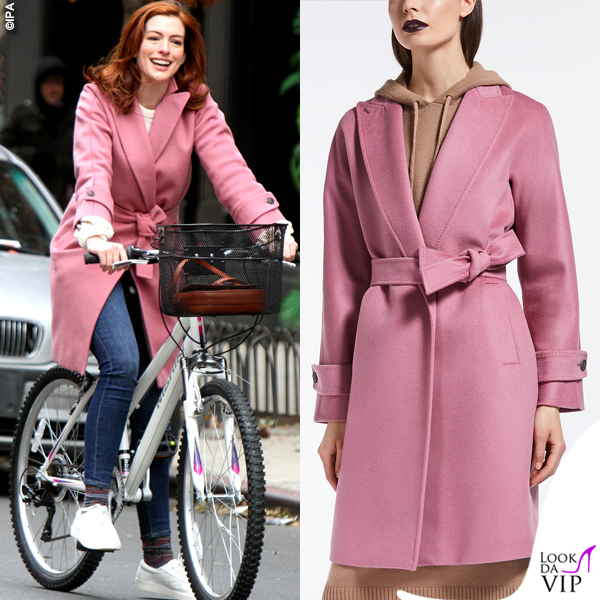 Anne Hathaway cappotto Max Mara Nevada pink