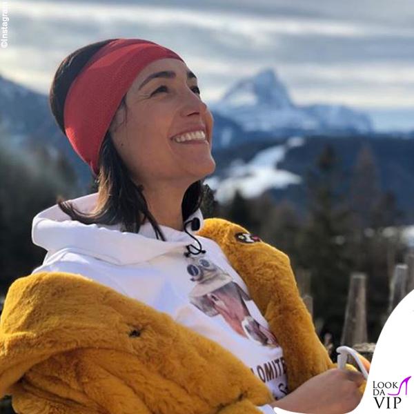 Caterina Balivo giacca Invicta stivali Moon Boot