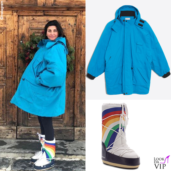 Giovanna Battaglia giacca Balenciaga stivali Moon Boot