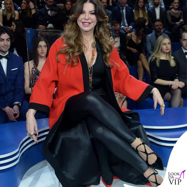 Isola prima puntata Alba Parietti total look Fausto Puglisi scarpe Racine Carree 1