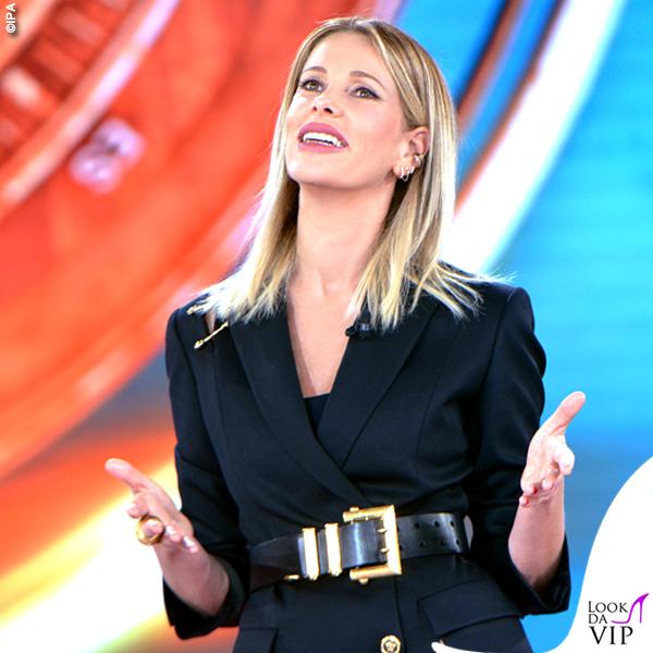 Isola prima puntata Alessia Marcuzzi total look Versace 2
