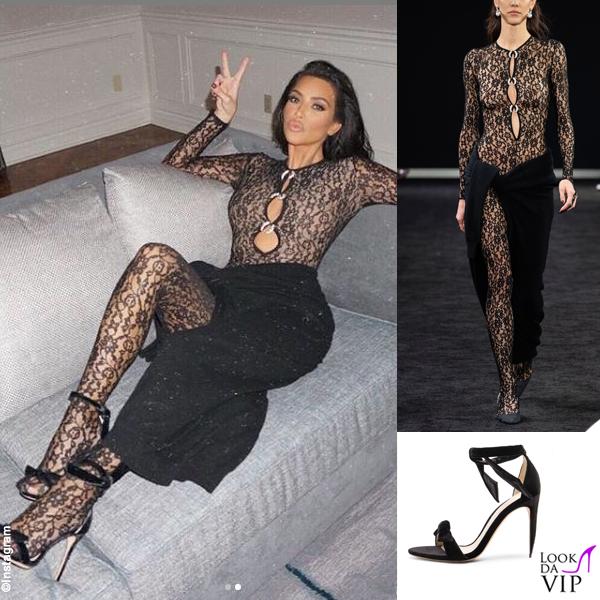 Kim Kardashian outfit Alexander Wang sandali Alexandre Birman 2