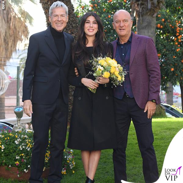 Sanremo 2019 Caludio Baglioni in Ermanno Scervino Claudio Bisio in Etro Virginia Raffaele scarpe Casadei 1