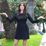 Sanremo 2019 Virginia Raffaele total black scarpe Casadei 1
