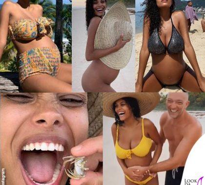Tina Kunakey incinta bikini Vincent Cassel